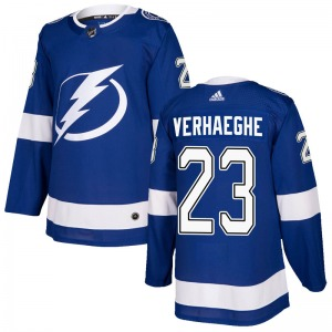 Adult Authentic Tampa Bay Lightning Carter Verhaeghe Blue Home Official Adidas Jersey